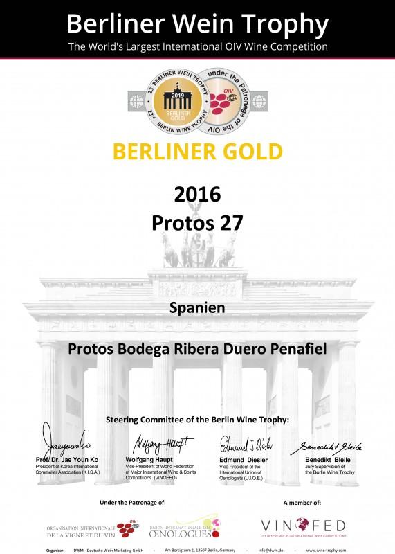 Protos'27 2016 y Protos Roble 2018 obtienen la Medalla de Oro en Berliner Wine Trophy de Alemania