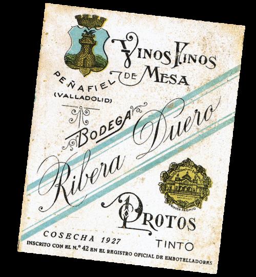 Etiqueta Bodegas Protos Antigua 1927