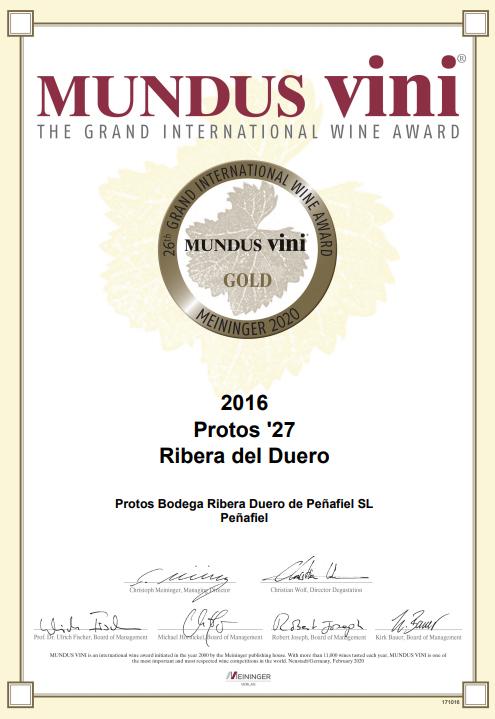 Protos'27, Medalla de Oro en Mundus Vini